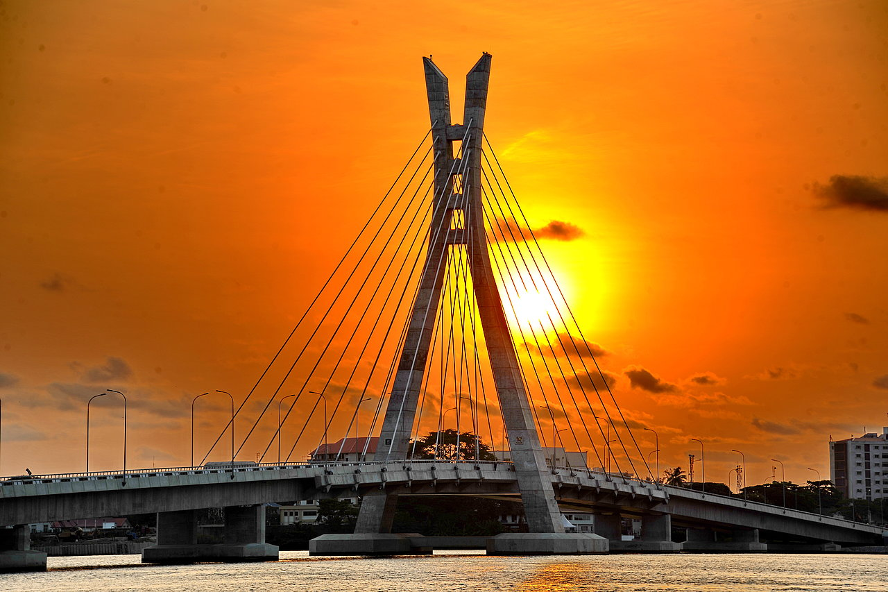 Sunset view of completed bridge system - pylon, bridge deck and connecting (julius-berger.com)